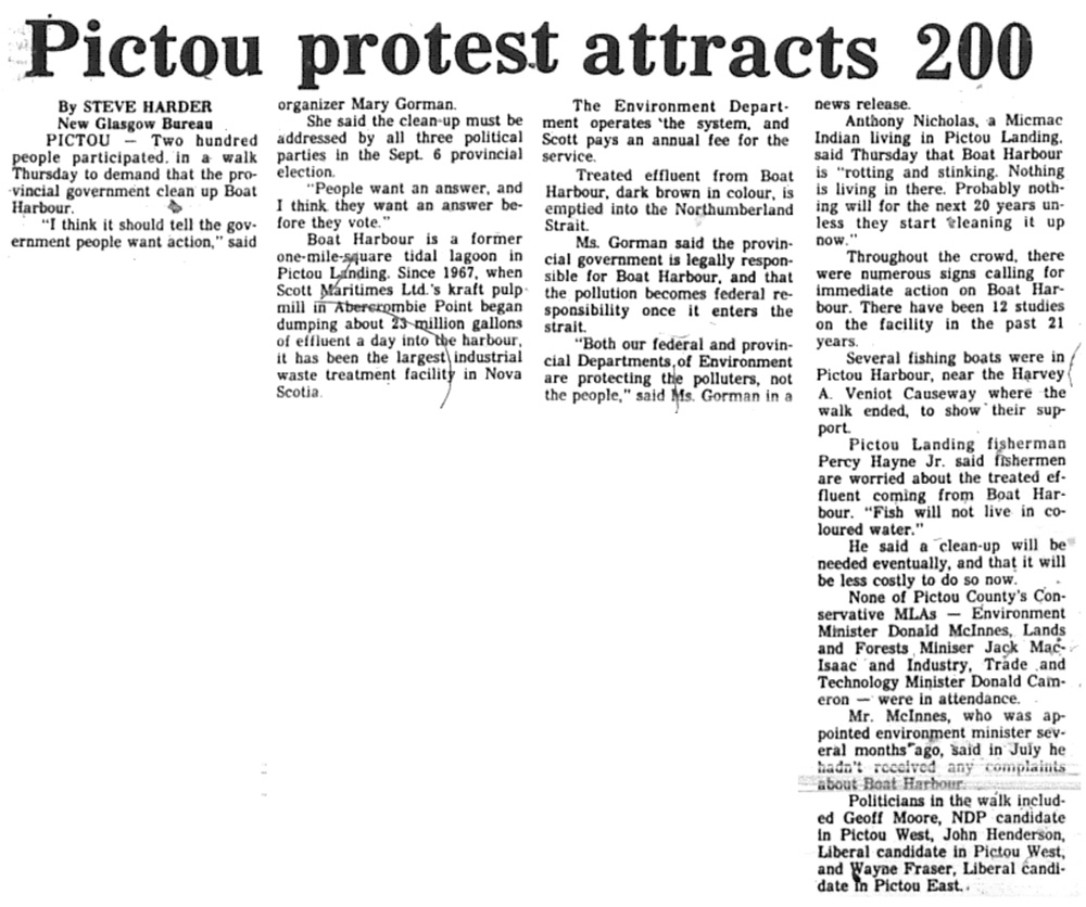 August 19: Pictou Protest Attracts 200
